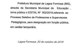 Processo seletivo de professores e supervisores em caráter temporário