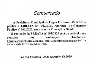 Errata Edital Concurso Público 001/2020