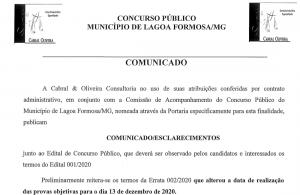 Concurso 001/2020 - Alteração da data da prova
