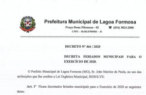 Decreto 466/2020 - Feriados municipais