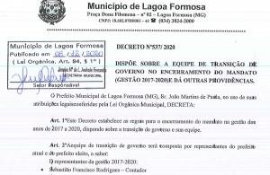 Decreto nº 537/2020 - Equipe de Transição de Governo