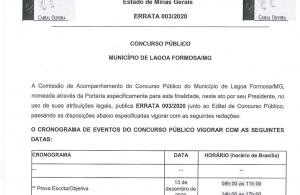 Concurso Público: Errata 003/2020