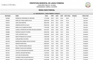 Resultado, gabarito e julgamento dos recursos concurso 001/2020